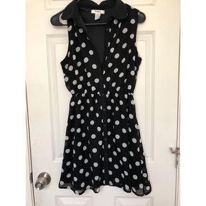 🌑Polka dot collar dress | Pinky